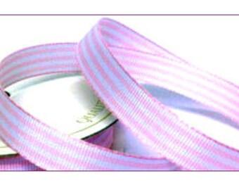 5 metres Pink Pastel Candy Stripe Ribbon, 10mm wide, striped ribbon, craft supplies, cardmaking, baby ribbon, baby shower, UK seller