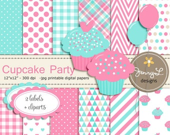Cupcake Theme Digital Papers and Clipart, Cuppies Birthday Party Scrapbooking Papers, Pink and Turquoise Balloons, Scalloped Label