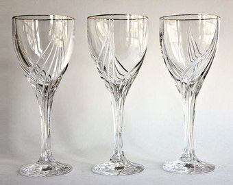 Lenox crystal 6 oz debut wine glasses gold rim trim vintage goblets set of 3 - Lenox gold rimmed wine glasses ...