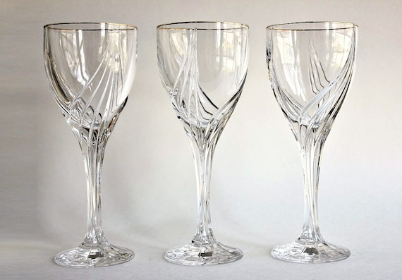 Lenox crystal 6 oz debut wine glasses gold rim trim vintage - Lenox gold rimmed wine glasses ...