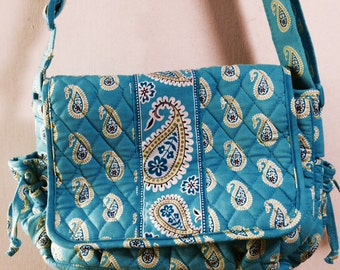 JUST REDUCED: Vera Bradley Retired Bermuda Blue Messenger Bag Style Purse with Zippered Pockets and Adjustable Strap