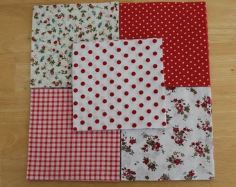 """Red cotton patchwork squares, cotton fabric, quilting fabric, patchwork fabric, 4.5"""" patchwork squares"""