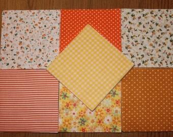 """Orange cotton patchwork squares, orange cotton fabric, quilting fabric, patchwork squares, 4.5"""" patchwork squares"""