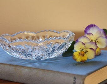 Vintage glass trinket dish or butter dish