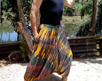 Mens Handmade Tie Dye Harem Pants. Baggy Pants. With Pockets. Brown