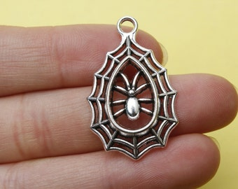 10pcs Spider charm Antique Silver Vintage Spiders Charms Pendants  20*35mm