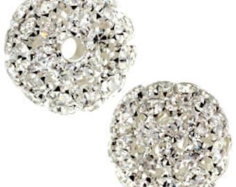 21mm Beadelle Silver Crystal Rhinestone Balls (1 piece)