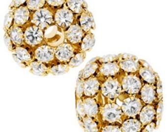 28mm Beadelle Gold Crystal Rhinestone Balls (1 piece)