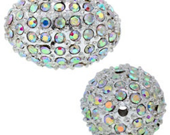 13x18mm Beadelle Silver / Crystal AB Pave Bead (6 pcs)
