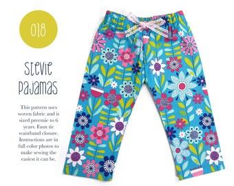 018 Stevie Pajama Pant Woven PDF Sewing Pattern Kids Baby Toddler Boy Girl PJ Elastic Waist Preemie- 6T Sadi & Sam