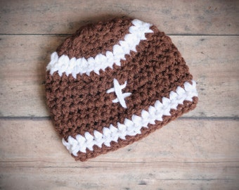 Baby Boy Crochet Football Hat Infant Newborn Sports Photography Photo Prop Brown Knit