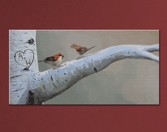 """Customized Sparrows Painting - Names/Initials Carved in Tree 