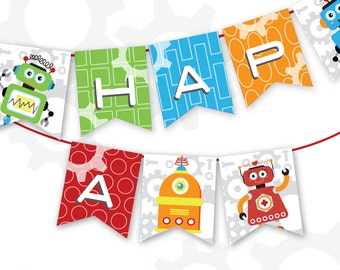 Robot Happy Birthday Pennant | Robot Banner| Printable Pennant | Instant Download | Robot Printable | Robot Birthday Party