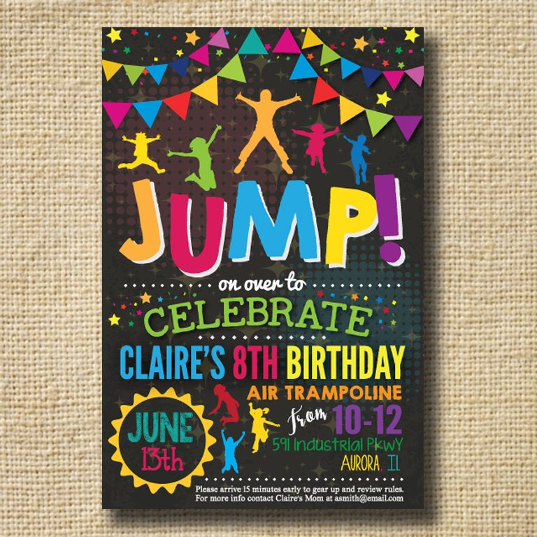 Trampoline Party Invitations: Jump Trampoline Or Bounce House Birthday Party By Creativelime