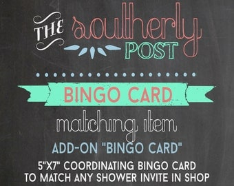 Custom BINGO Card to Match Any Baby Shower Invitation in Shop - Add-On item - Baby Shower Bingo - Bridal Bingo