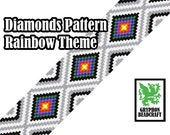 Loom Beading Pattern - Diamonds (Rainbow Theme)