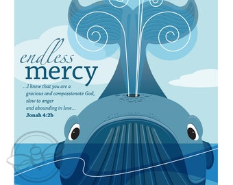 Endless Mercy: Inspirational, illustration, Jonah's whale, digital download