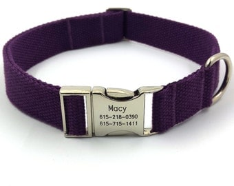 Purple Customized Dog Collar  Engraved Buckle Name Address Phone Number Personalized