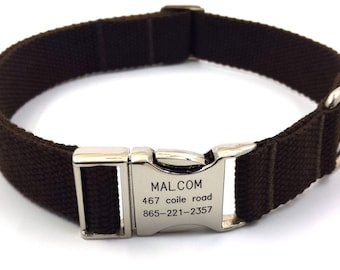 Dark Bronw Customized Dog Collar  Engraved Buckle Name Address Phone Number Personalized Adjustable Canvas