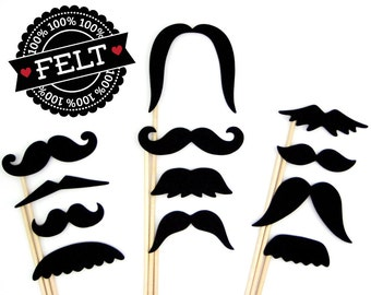 Felt Photo Booth Props - Mustache Props - Moustache on a Stick