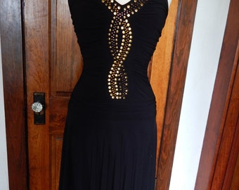 Black 1970's inspired dress with gold accents