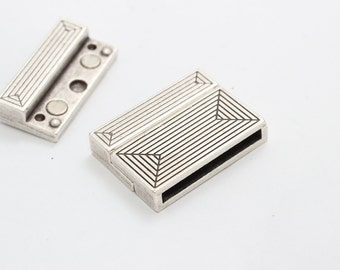 2 Sets Silver Flat Magnetic Clasp (2,5x24mm ) , Flat Leather Clasp  , Brazil Clasp ,  PLS52