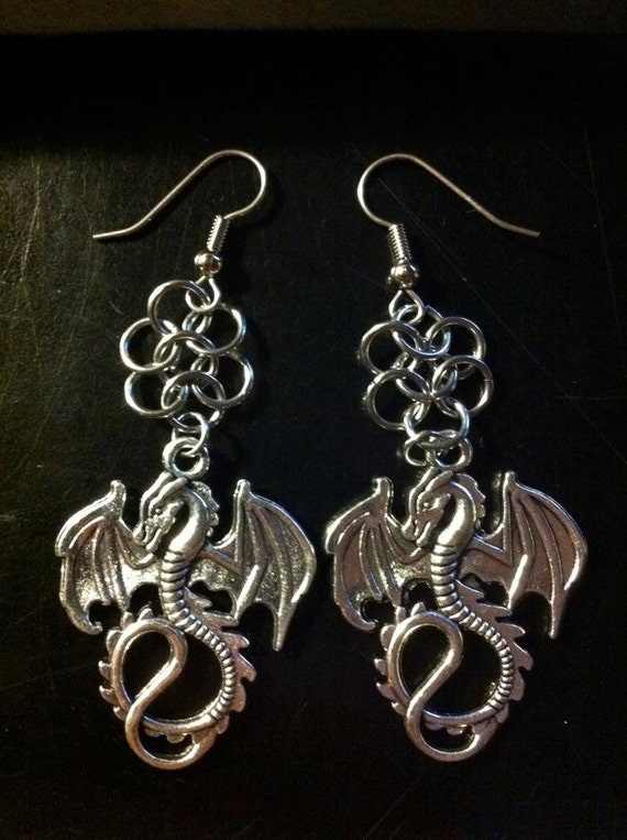 Dragon Dangle Earrings with Chain Maille design - Game of Thrones Inspired - GOT