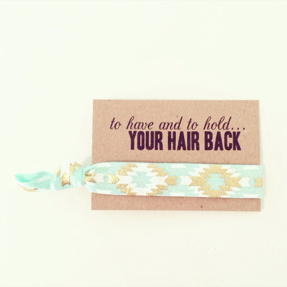 Mint + Gold Hair Tie Party Favors | Mint + Gold Boho Bachelorette Hair Tie Favors, Mint + Gold Aztec Tribal Hair Tie Favor, Birthday Party