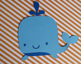 "3 Large (6.51"" W x 6.16"" H) 2 Layer Whale Die Cut - Nautical Table Decor"