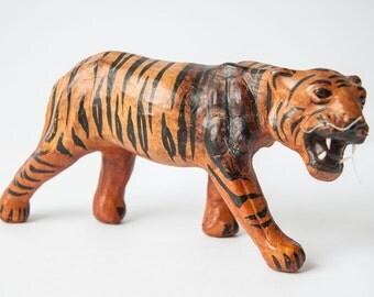 Vintage painted leather Bengal tiger figure