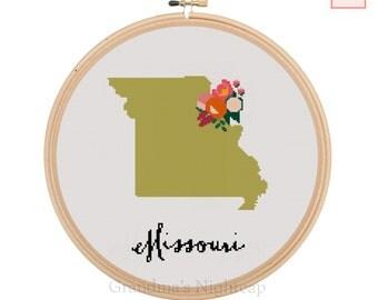 Cross Stitch Pattern Missouri Modern Cross Stitch Pattern Counted Cross Stitch Pattern Missouri Art Missouri State Art Missouri Pattern