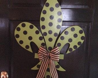 Handmade Green and Black Wood Fleur De Lis