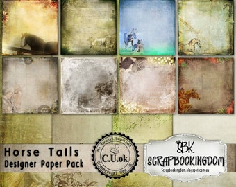 Scrapbook Papers  - Commercial Use or Personal Use  Horse theme  12 scrapbooking  papers Digital papers ok for printing