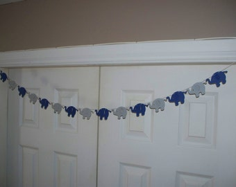 Elephant Garland - Navy Blue & Grey Cardstock Paper - Baby Shower Decor - Birthday Party Wall Decoration - Long or Short