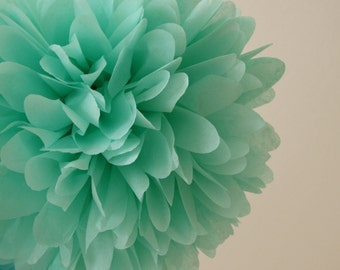 Mint green -  large Tissue PAPER POM POMS - pom pom wedding decorations birthday baby mobile pompoms hanging balls craft supplies paper
