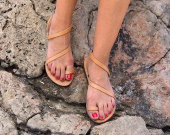 Genuine Greek Leather Marbe Sandal - Gaia -Natural color strap