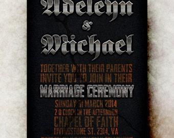 Heavy Metal Wedding Invitation  -  Silver Wedding Invitation,  wedding invitation,  printable wedding invitation
