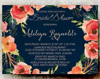 watercolor blue coral bridal shower Invitation  -  Bridal shower Invitation,  printable wedding invitation