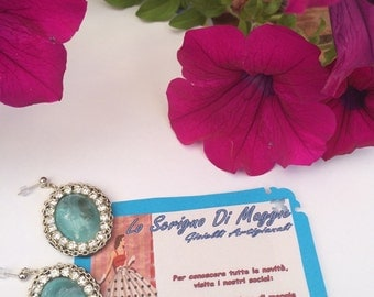 "Earrings ""TURQUOISE""-earring, rhinestone, chain"