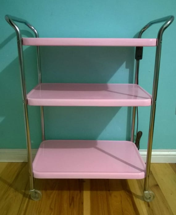 Vintage Pink Cosco Rolling Cart 3 Tier W Electrical By