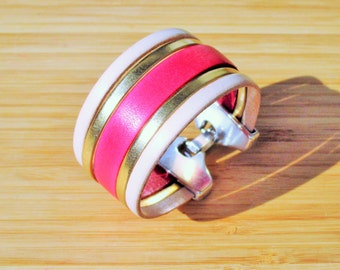 Coral pink leather Cuff Bracelet, white mother of Pearl and gold clasp clip 30mm