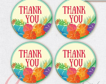 Thank You Favor Tags . Luau tags. Printable tag. Hawaiian printables. Luau party thank you tag. INSTANT DOWNLOAD