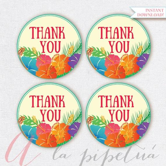 Thank You Favor Tags . Luau tags. Printable tag. Hawaiian