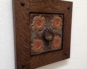 Mission Oak Frame with Unique Tile
