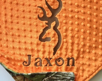 Personalized Baby Blanket, Minky Blanket, Personalized Name Blanket, Buck Applique, Browning Blanket, Choose Your Colors, Choose Your Size.