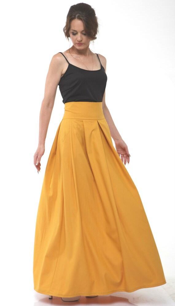 mustard maxi skirt high waist s by fashiondress8 on etsy