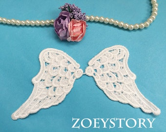 Angle Wing Lace Applique, Wing of Angle Applique Venise Lace Motif in Off White, 2 Mirror Pairs