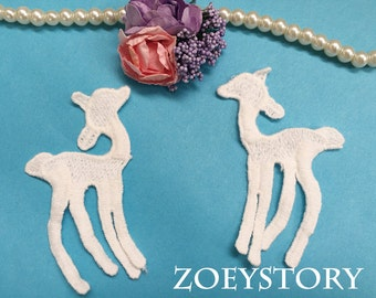 Deer Lace Applique, Embroidery Cotton Deer Lace Applique Motif in Off White, 6 pcs