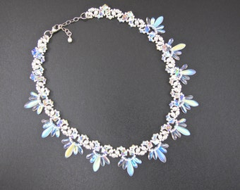 Beaded Choker Necklace in White