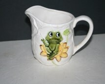Vintage Sears and Roebuck, Creamer, Frog,  Lilypad Design, Collectible
